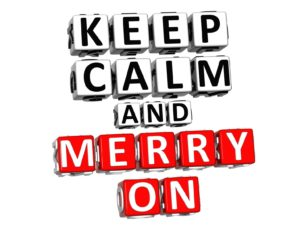 16833781 - 3d keep calm and merry on button click here block text over white background